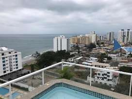 Alquiler o Renta  departamento amoblado vista al mar en Barrio Umiña, Manta