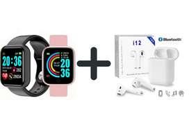 Combo de reloj inteligente + audífonos Bluetooth