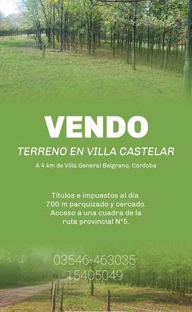 Vendo terreno en villa Gral Belgrano