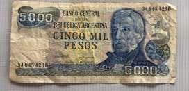 Billete de 5000 Pesos Argentinos
