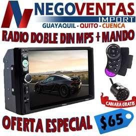 RADIO DOBLE DIN MP5 CON MANDOS AL VOLANTE USB , SD AUX , BT OPCION CAMARA DE RETRO
