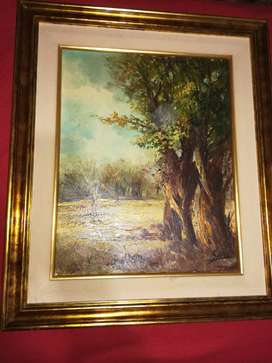CUADRO CON marcos a la hoja pinturas sobre lienzo medidas 58 cm por 69 cm, impecables listo para colgar.