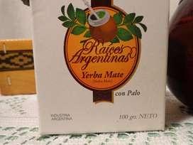 RAICES ARGENTINAS: MATE TIPICO PORONGO DE CALABAZA Y YERBA MATE