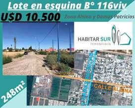Lote 248m2 en Esquina Barrio 116viv (zona Alsina y Damas Patricias)
