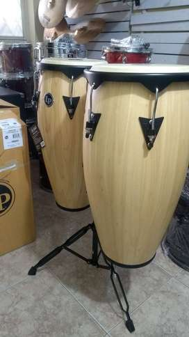Congas LP Aspire City lp649 con base doble nuevas en madera