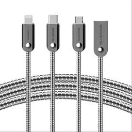 Cable De Metal Zinc Micro Usb Tipo C iPhone Somostel Bj01 1m
