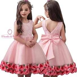 Vestido Rosado Flores Abajo
