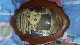 Cuadro foto antigua en madera alto 32cm ancho 25 cm