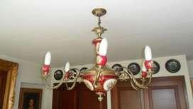 ANTIGUA LAMPARA EUROPEA FRANCESA PORCELANA LIMOGES