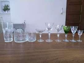 Copas de cristal y vasos wishky