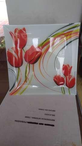 Bandeja a colores en vidrio