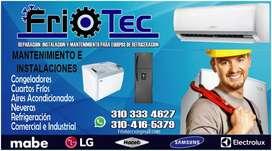 Instalación y reparacion en aire acondicionado, cuartos fríos, neveras congeladores