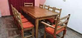 Mesa para quincho madera maciza + 8 sillas con almohadones + 2 sillones butaca con almohadones.