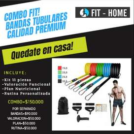 COMBO FIT Bandas Tubulares para hacer ejercicio en casa.