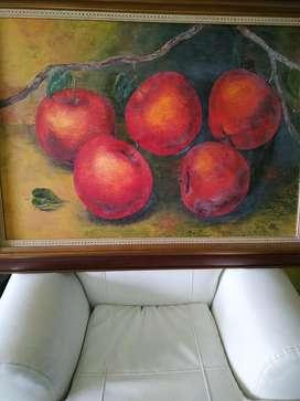 Cuadro Oleo Bodegon Manzanas