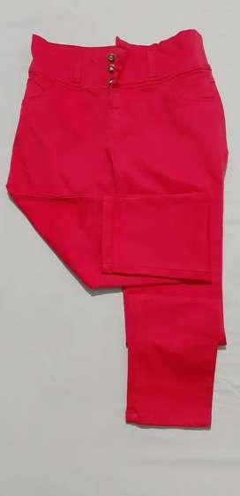 Pantalón fucsia, strech, cintura alta, talla 18