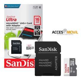 Memoria MicroSD Sandisk Ultra16GB  Clase 10 al por Mayor y Menor