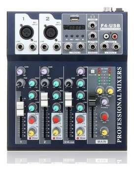 Mixer Américan sound 4 canales usb Bluetooth