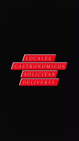 LOCALES GASTRONOMICOS SOLICITAN DELIVERYS