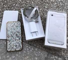 Iphone 7 128 gb plateado excelente estado en caja completa + funda + vidrio templado LIBERADO usado