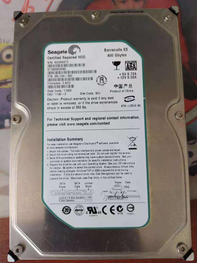 Disco duro para PC nuevo sin caja de 400 gb 0