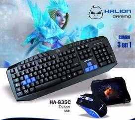 Teclado Combo Gamer Triton Mouse Pc Mac Laptop Leb Usb Nuevo