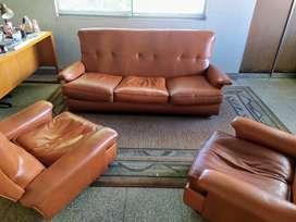 juego de sillón de cuero