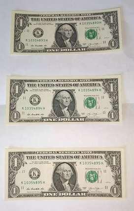Numismatica billetes de un dólar numeración consecutiva