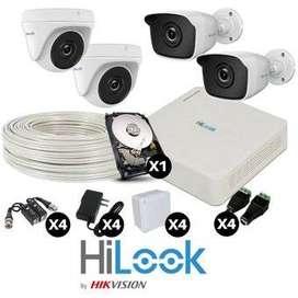 KIT CCTV 4 CAMÁRAS HILOOK