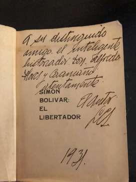 """Libro del """"la muerte del libertador"""" firmada por el autor"""