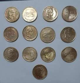Vendo lote de 13 monedas de 25 centavos de Colombia de 1979 en buen estado