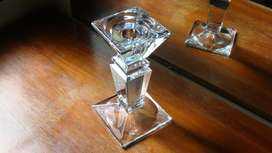 Candelabro de cristal macizo incoloro