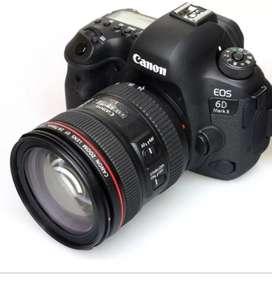 Cámara canon 6D + lente 24 105 li ea roja +2 baterías + maletin