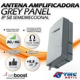 Antena Amplificadora De Señal Weboost Grey Panel +5 dB de ganancia Resistente al agua IP58 3G y 4G 700 a 2170 MHz