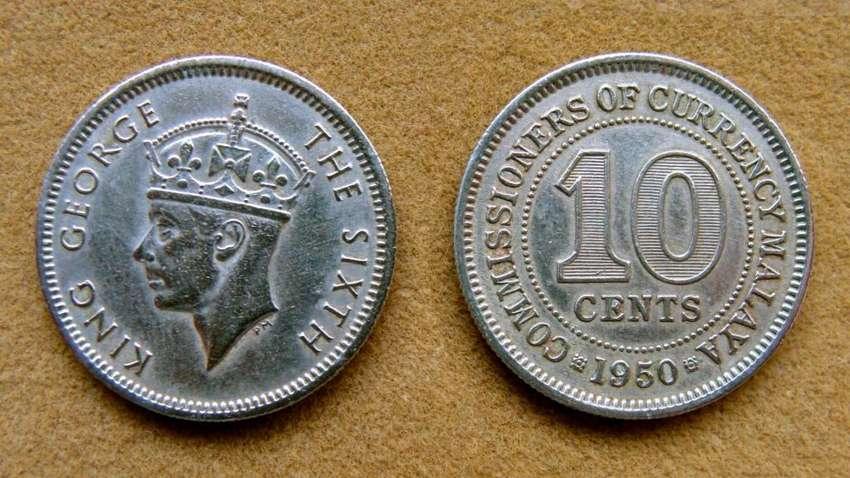 Moneda de 10 cents Malaya Británica 1950 0