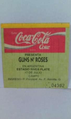 Guns N Roses entrada de colección 17 de julio 1993 Estadio River Plate