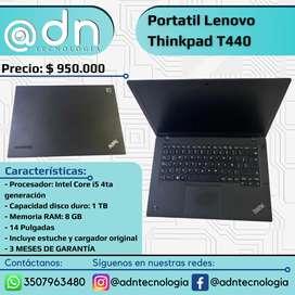 "Portatil Lenovo Thinkpad T440, 14"", Intel Core i5 4ta Generación, DD 1TB, RAM 8GB"