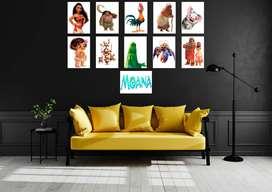 cuadros Posters de los personajes de moana para la decoración de salas,comedores  cuartos o fiestas temáticas cumpleaños