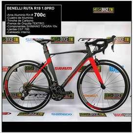 Bicicleta Ruta 700 BENELLI R19 1.0 PRO Aluminio, Trinche Carbono, Grupo Shimano TIAGRA 10v (Negro-Rojo)
