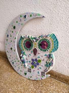 búho decorativo de mosaiquismo