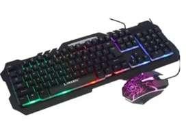 teclado y mouse alambrico t21 tipo gamer RGB y con porte para celular