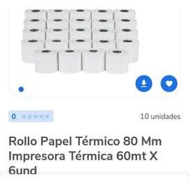 ROLLO DE PAPEL TÉRMICO 80 MM IMPRESORA TÉRMICA 60 MT X 6 UND