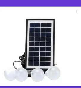 Kit solar panel bombillos carga celular linterna bateria