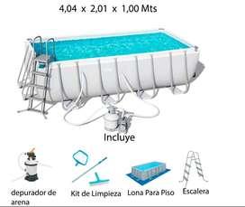 Piscina Armable Bestway 4,04 x 2,01 x 1,00 con Depurador de Arena y Escalera