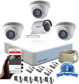 Cámaras De Seguridad Kit 720p Hikvision Mini Dvr 4ch + 4 Cám