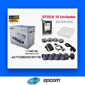 Kit De 04 Cámaras De Seguridad 1080 Full Hd / Disco 1 Tb