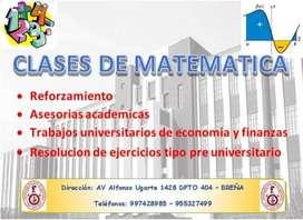 CLASES DE MATEMATICA, ECONOMIA Y FINANZAS