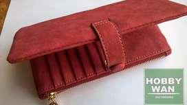 Billetera Mujer Dama Cuero Pu Monedero Color Rojo