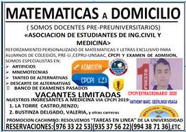 MATEMATICAS- FISICA - QUIMICA A DOMICILIO