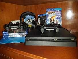 VENDO PS4 500 GB + 2 JOYSTICKS ORIGINALES + 6 JUEGOS FISICOS + 1 AURICULAR GAMER